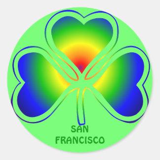 San Francisco St. Patrick's Day Shamrock Rainbow Sticker