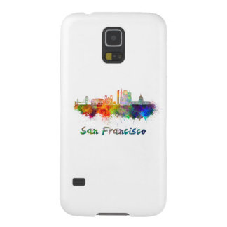 San Francisco V2 skyline in watercolor copy Cases For Galaxy S5