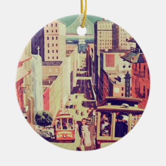 San Francisco vintage postcard Ceramic Ornament