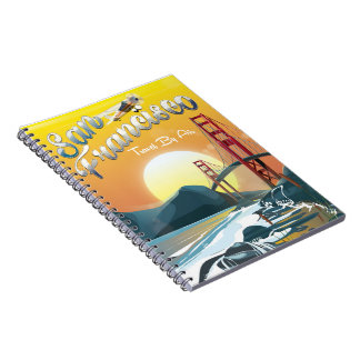 "San Fransisco ""Travel by air"" Golden Sunset Notebook"