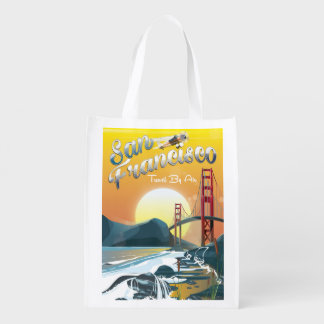 "San Fransisco ""Travel by air"" Golden Sunset Reusable Grocery Bag"