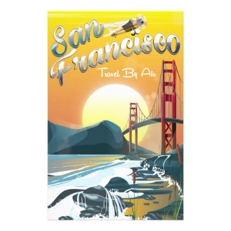 """San Fransisco """"Travel by air"""" Golden Sunset Stationery"""