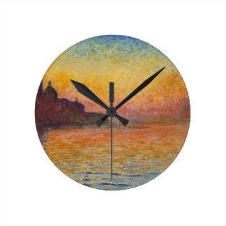 San Giorgio Maggiore at Dusk - Claude Monet Round Clock