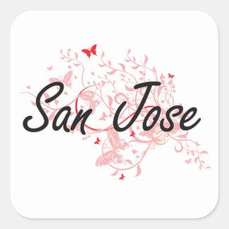 San Jose California City Artistic design with butt Square Sticker