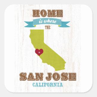 San Jose, California Map – Home Is Where The Square Sticker