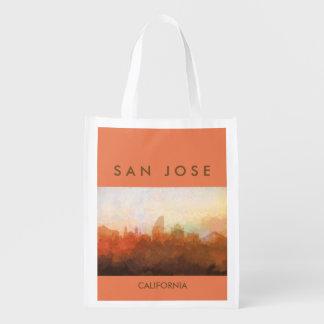 San Jose, California Skyline IN CLOUDS Reusable Grocery Bag