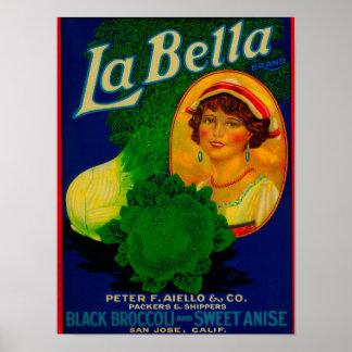 San Jose, CaliforniaLa Bella Vegetable Label Poster