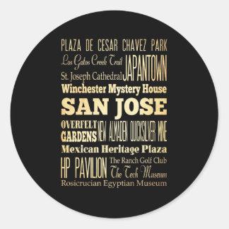 San Jose City of California State Typography Art Round Sticker
