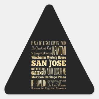 San Jose City of California State Typography Art Triangle Sticker