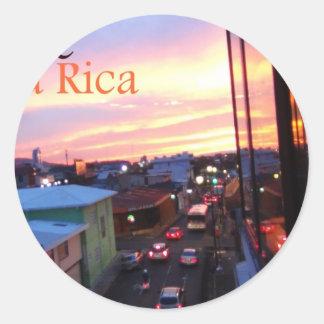 San Jose Costa Rica Sunset Round Sticker