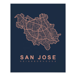 San Jose Neighborhoods Map Poster