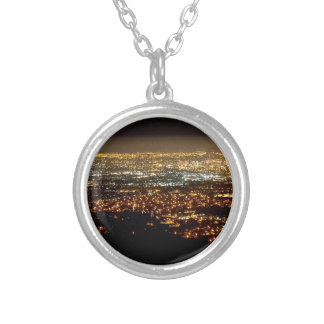 San Jose Night Skyline Silver Plated Necklace
