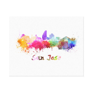 San Jose skyline in watercolor Canvas Print