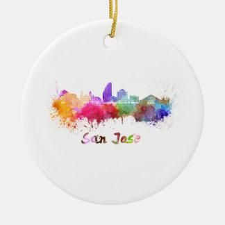 San Jose skyline in watercolor Ceramic Ornament