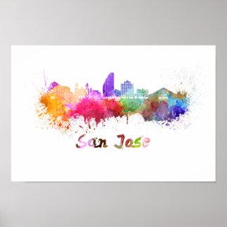 San Jose skyline in watercolor Poster