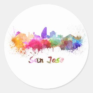 San Jose skyline in watercolor Round Sticker