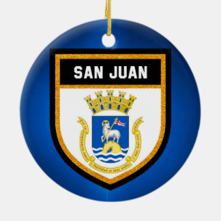 San Juan Flag Ceramic Ornament