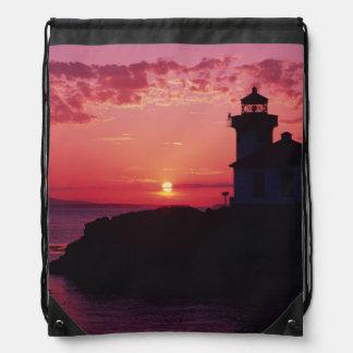 San Juan Island, Lime Kiln Lighthouse Drawstring Backpacks