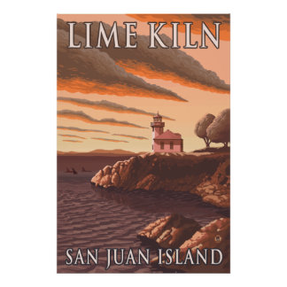San Juan Island, WA - Lime Kiln Lighthouse Poster