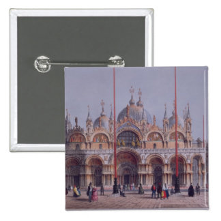 San Marco, Venice, engraved by Brizeghel (litho) 15 Cm Square Badge