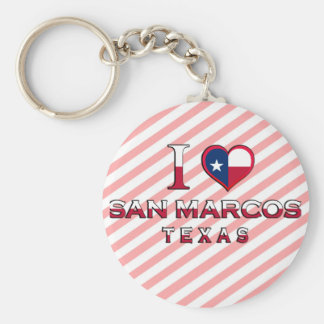 San Marcos, Texas Basic Round Button Key Ring
