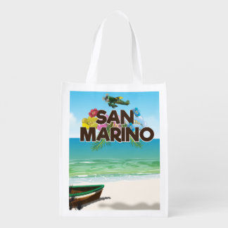 San Marino Beach travel poster Reusable Grocery Bag
