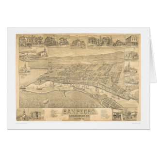 San Pedro, CA. Panoramic Map 1895 (1319A) Card