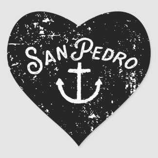 San Pedro Los Angeles California Anchor Vintage Heart Sticker