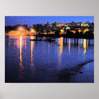 San Pedro Marina at Night Watercolor Poster