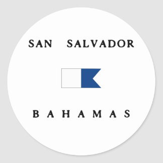 San Salvador Bahamas Alpha Dive Flag Round Stickers
