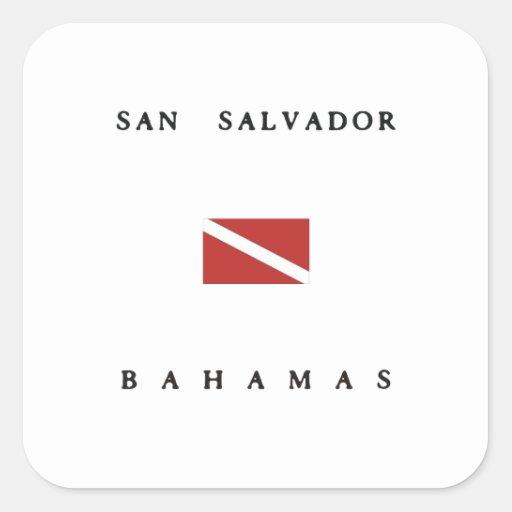 San Salvador Bahamas Scuba Dive Flag Square Stickers