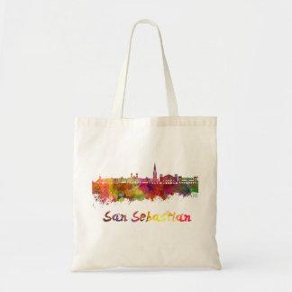 San Sebastian skyline in watercolor Tote Bag