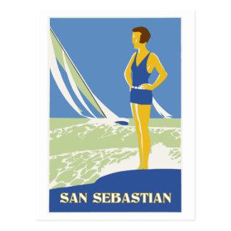 San Sebastian, vector art retro travel Postcard