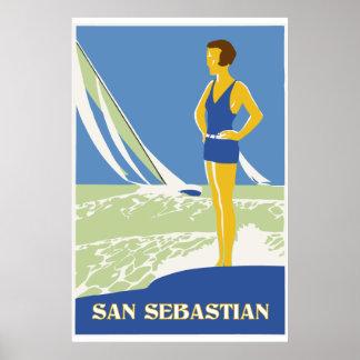 San Sebastian, vector art retro travel Poster