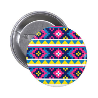 sand_and_beach AZTEC PATTERN BRIGHT COLORFUL SUMME Button