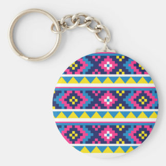 sand_and_beach AZTEC PATTERN BRIGHT COLORFUL SUMME Key Chain