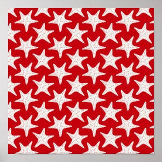 sand-and-beach_paper_starfish RED WHITE STARFISH S Poster