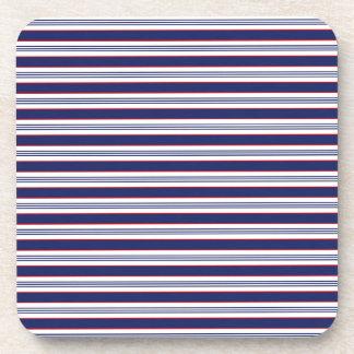 sand-and-beach_paper_stripes BLUE WHITE NAVY STRIP Coaster