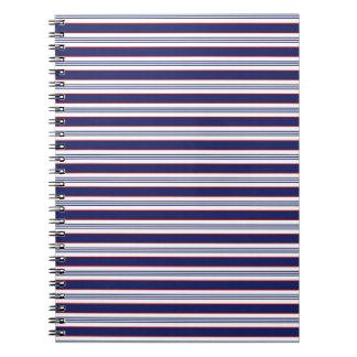 sand-and-beach_paper_stripes BLUE WHITE NAVY STRIP Spiral Notebooks