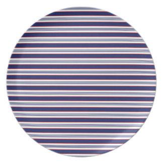 sand-and-beach_paper_stripes BLUE WHITE NAVY STRIP Dinner Plate
