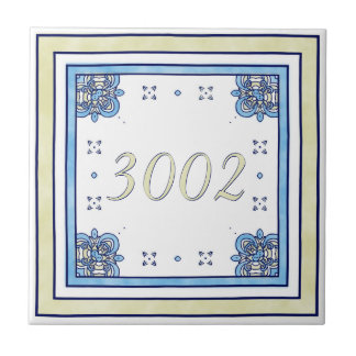 Sand and Blue House Number Small Square Tile