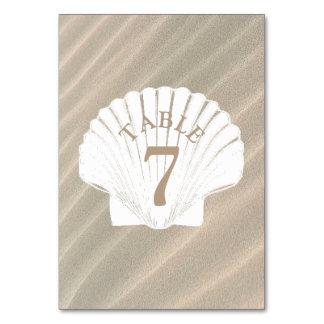 Sand and Seashell tan Wedding Table Number Card