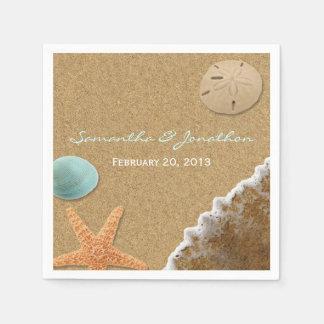 Sand and Shells Beach Theme Wedding Disposable Serviette