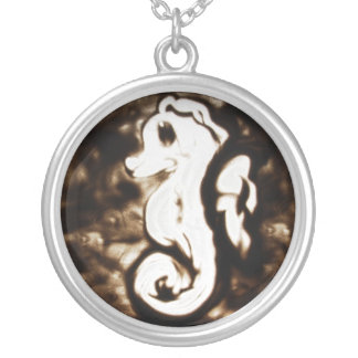 Sand Art Seahorse Silver Plated Necklace