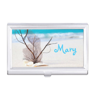 Sand Beach Ocean Monogram Business Card Holder