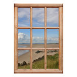 Sand Beach, Sea, and Sky View from a Window Print