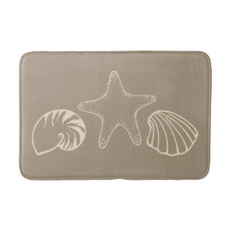 Sand Beach Sea Shells Bathroom Rug Bath Mat