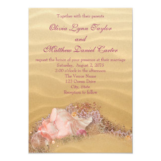 "Sand Beach Seashells Beach Wedding 5"" X 7"" Invitation Card"