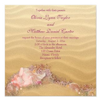 "Sand Beach Seashells Beach Wedding 5.25"" Square Invitation Card"