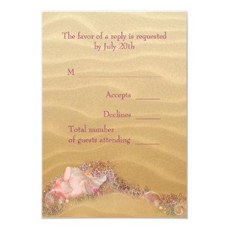 Sand Beach Seashells Beach Wedding RSVP 9 Cm X 13 Cm Invitation Card
